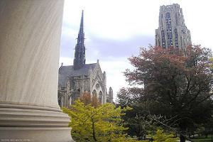The Cathedral of Learning Lawn campus of the University of Pittsburgh as seen from the portico of Mellon Institute. Photo by Michael G. White.